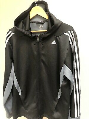 Details about Adidas Climalite Mens Pullover Hoodie Gray 3 stripes Large Chevron design