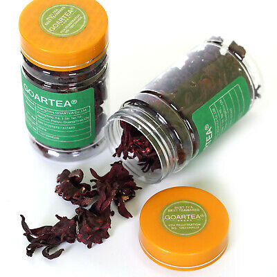 GOARTEA 50g Organic Roselle Hibiscus Sabdariffa Flowers Dried Herbal Tea Bottled