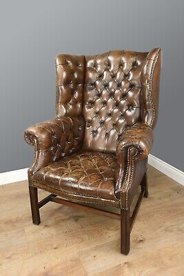 Antique Georgian style leather wing chair chesterfield wing chair circa 1900