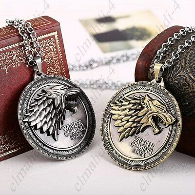 ⟦NEW⟧🔥 Game of Thrones House Stark Wolf Necklace Winter Is Coming Metal Pendant