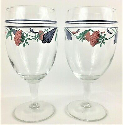 Set of 2 Lenox Poppies On Blue Large Wine Goblets Water Glasses 16 Ounces Floral