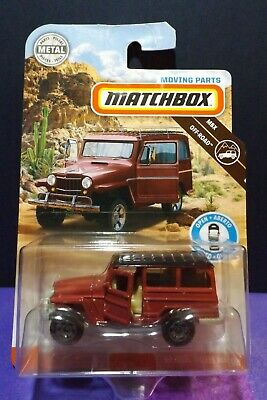 2019 Matchbox MOVING PARTS '62 JEEP WILLYS WAGON in BROWN. MBX OFF-ROAD.