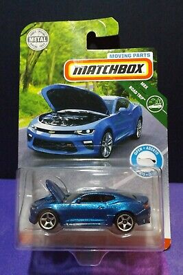 2019 Matchbox MOVING PARTS '16 CHEVY CAMARO in BLUE. MBX ROAD TRIP. C CASE.