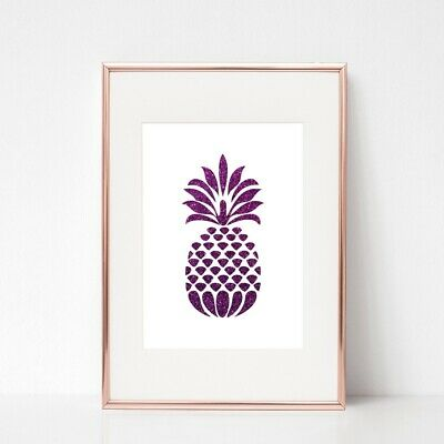 PURPLE GLITTER PINEAPPLE print a4 gloss poster picture QUOTE ART UNFRAMED