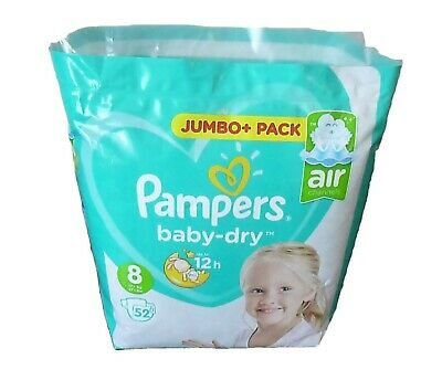 104 Pampers Baby Dry Nappies (Air Channels) Size 8 (17+kg 37+lbs)