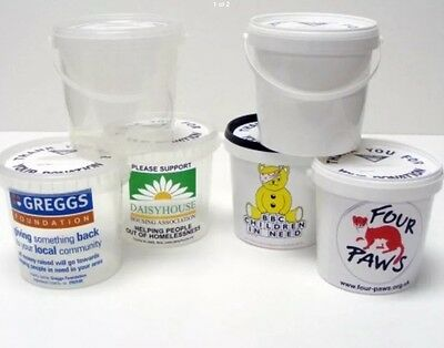 Mini Charity Money Collection Buckets With Lids Labels  WHITE PACK OF 3