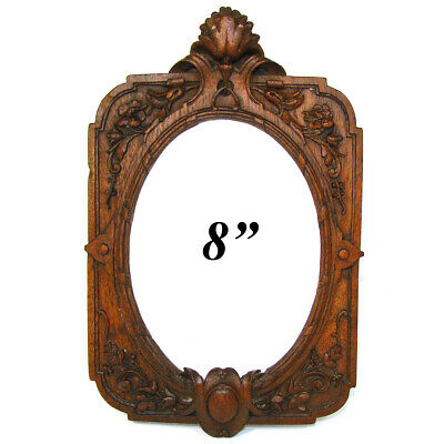 "Antique Victorian Era Carved Oak 8"" Tall Picture Frame, Ornate Floral & Foliate"