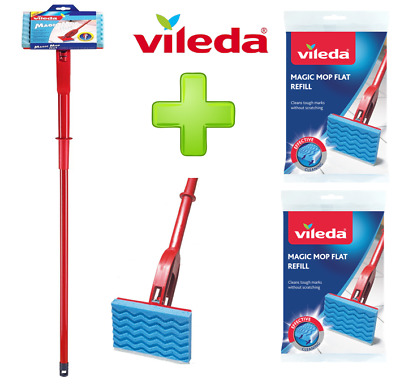 Vileda Magic Mop Flat Red Including Refill Options & Auto Wringer
