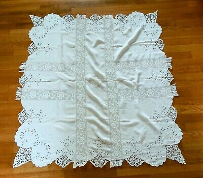 vintage french linen embroidered tablecloths (2)