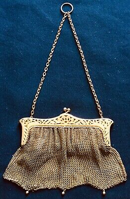 Antique Gold Plated German Silver filigree heavy mesh chatelaine chain purse bag