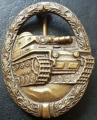 ✚8288✚ German Army Tank Battle Panzer Badge in Bronze post WW2 1957 pattern ST&L