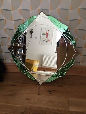 Art Deco Mirror Green Glass Mantle Style Chester Collection Only