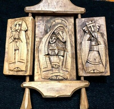 Antique Rustic  Naive Primitive Hand Carved Wooden Triptych Icon- Very Unique!