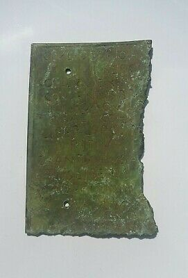 Scarce Circa 100-400 Ad Roman Era Military Legionary Bronze Diploma Fragment