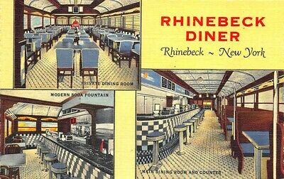Rhinebeck NY Diner Multi-View Curt Teich Linen Postcard
