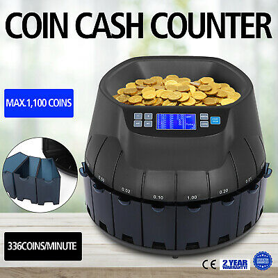 UK Coin Counter Sorter 45 W Coin Counting Machine 500-1000 for Shop Bank