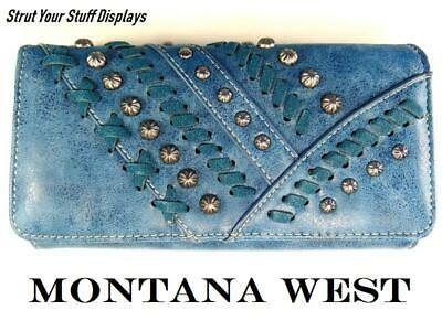 1 MONTANA WEST BLUE TRI-FOLD WALLET/ WRISTLET. NEW. PU Leather.Whipstitch Lacing