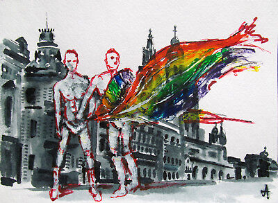 ORIGINAL art painting two men man male couple landscape gay pride flag figures
