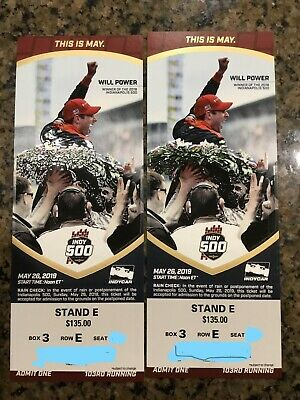 (2) 2019 Indy Indianapolis 500 Tickets - STAND E SHADE - FIRST TURN - BOX 3