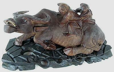 Water Buffalo with Monks Antique Carved Wood W Root Base Bone Teeth Chinese