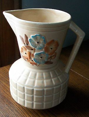 Vintage Art Deco Pottery Water Pitcher Made in England