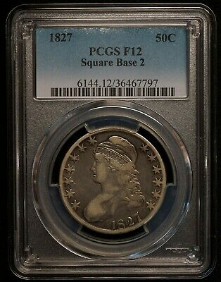 1827 USA Capped Bust Half Dollar PCGS Graded F12 - Scarce World Silver Coin