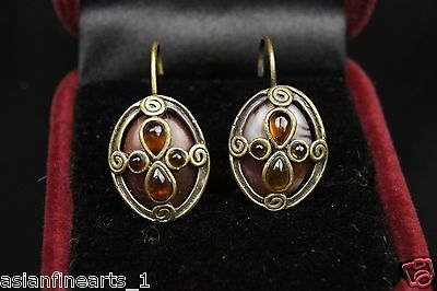 Lovely Vintage Jewelry Bronze Antique Earrings w/ Beautiful Brown Stone! #538