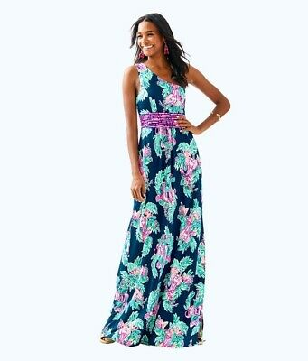 1c324473b4a6ca NWT LILLY PULITZER Lannette Gold Bead Embellished Print Maxi Dress ...