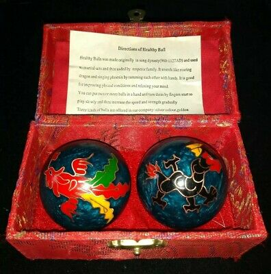 Set Of 2 Ball of Blue Cloisonne Iron Balls Oriental Style Case Dragon & Phoenix!