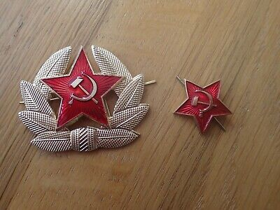 Genuine USSR CCCP Soviet Russian Communist Party  Army Hat Pins