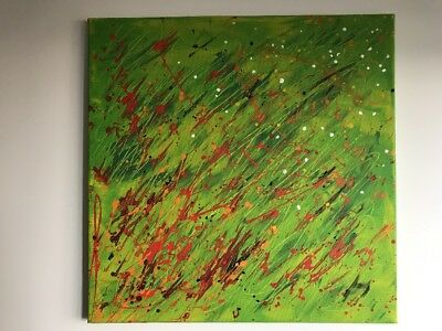 Vintage Original Abstract Painting Acrylic On Canvas Green Orange Red Modern Art