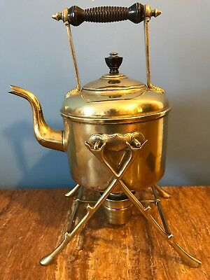 Antique Brass Art & Crafts Spirit Kettle Turned Wooden Handle