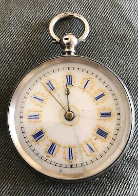 ANTIQUE ORNATE SWISS SOLID SILVER .935 POCKET / FOB WATCH Late 1800's