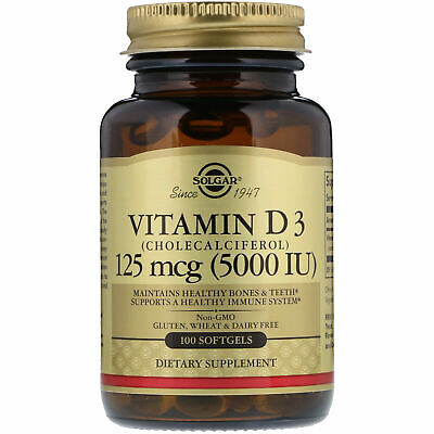 NEW SOLGAR VITAMIN D3 CHOLECALCIFEROL 125 mcg 5000 IU, 100 Softls