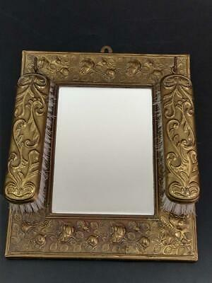 Arts and Crafts Brass Framed Mirror With Clothes Brushes