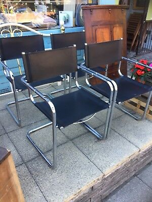 Set of 4 Vintage chrome & leather designer chairs, Mies Van der Rohe Style