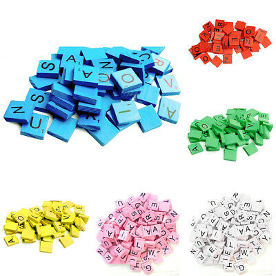 100PCS Wooden Scrabble Tiles Black Letters Numbers For Crafts Wood Alphabets Toy
