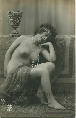 Beautiful nude woman with long necklace antique rppc photo France