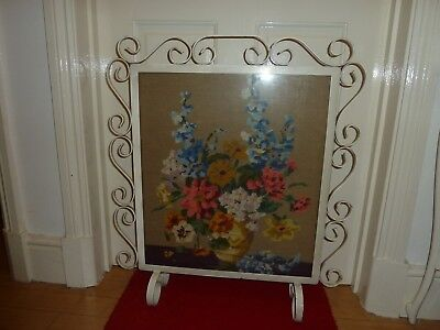 Vintage Fire Screen Guard Iron Glazed Tapestry Hand Made Embroidery Spark Safety