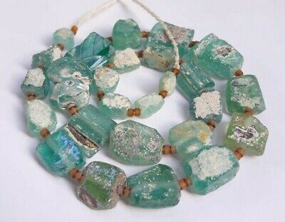 Ancient  Old Roman Glass Beads Square Mixed Size 19 pcs  Random for Necklace