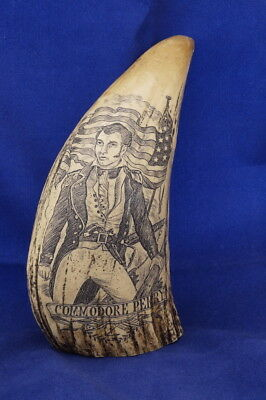 Scrimshaw Commodore Perry Reproduction of Vintage Whale Tusk  (faux)