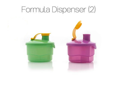 Tupperware Baby Formula Powder Dispenser set of 2 Purple Green