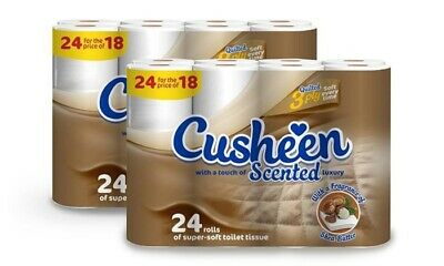 48 Rolls Cusheen 3PLY Quilted Shea Butter Scented Toilet ROLLS - GREAT PRICE