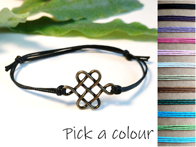 Celtic Knot Cord Bracelet, Bronze Celtic Knot Jewellery, Adjustable Cord