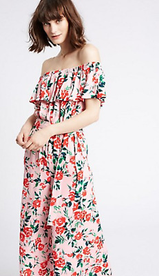 picked up brand new save up to 60% NEW M&S RRP £45 Floral Bardot Jumpsuit Wide Leg Culotte ...