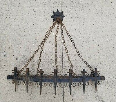 Vintage Iron Medieval Gothic Candelabra Candle Holder Wall Sconce Hanging