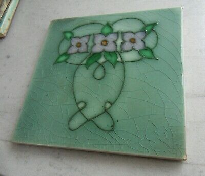"Original tubed English  Art Nouveau tile , c1905/12 6""x6""Tile 926"