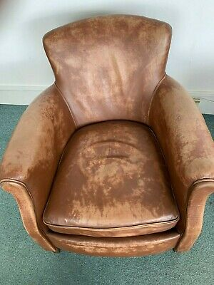 Pair of French Leather Club Armchair Chair Original Authentic Vintage Antique