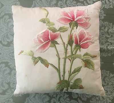 Antique Arts & Crafts Embroidered Pillow Roses Floral Antique Incredible!