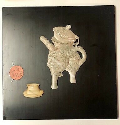 Vintage Chinese Carved Hardstone Lacquer Wall Panel